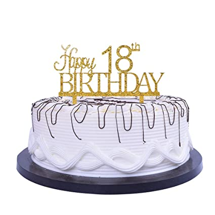 Amazon YUINYO Happy 18th Birthday Cake Topper Gold