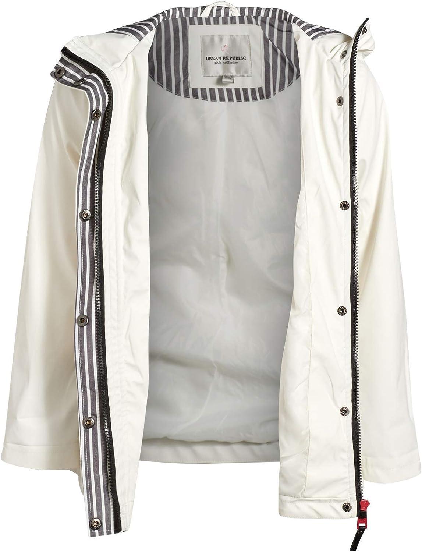 Urban Republic Girls Lightweight Vinyl Waterproof Raincoat with Hood