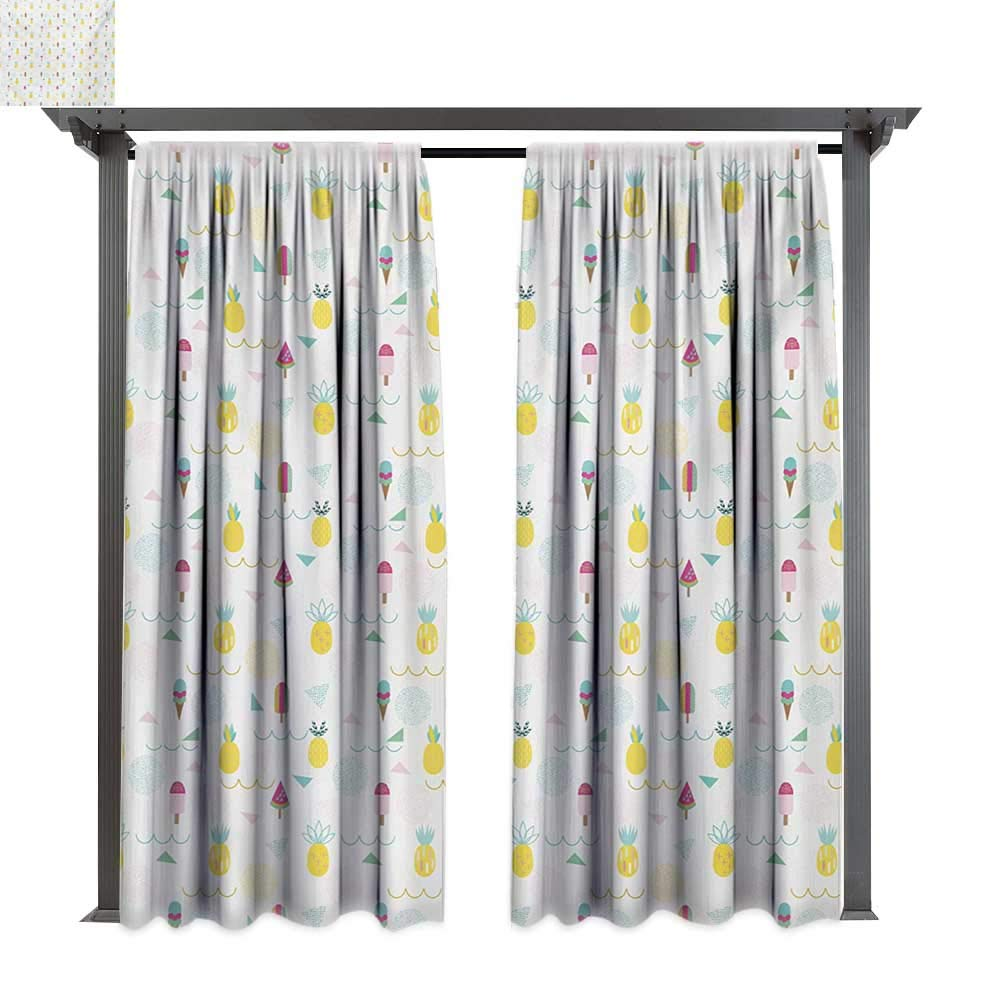 Combynee Outdoor Blackout Curtains, Eighties and Nineties Themed Ice Cream and Pineapple Design Retro Illustration, Outdoor Privacy Porch Curtains (W84 x L108 Inches Multicolor)