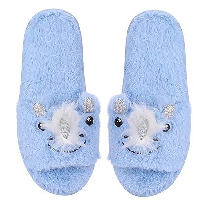 ibluelover Pantuflas de interior antideslizante zapatos mujeres casa Pantuflas confortable Mules invierno otoño Slippers de peluche