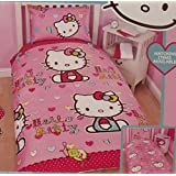 Hello Kitty Reversible Folk Pink Duvet Girls Single Bed Set- Duvet cover and Pillow Case by Hello Kitty