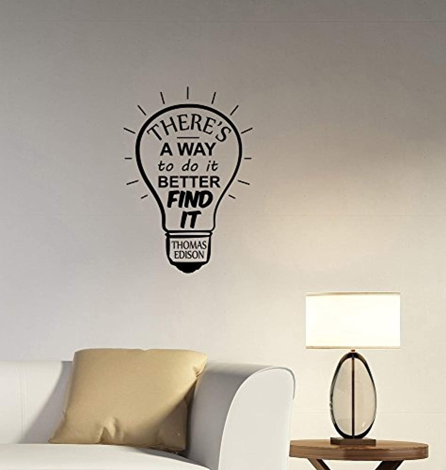 There's a Way To Do It Better Thomas Edison Motivational Quote Wall Decal Light Bulb Vinyl Sticker Science Business Inspirational Saying Art Decorations for Home Classroom Office Room Decor tq1