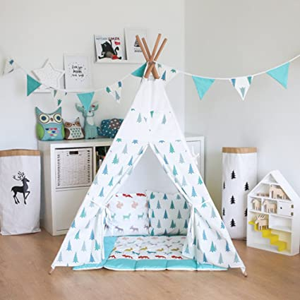quality design 4b7a4 73c6c Amazon.com: Fessyc@blue small tree Children's Teepee Play ...