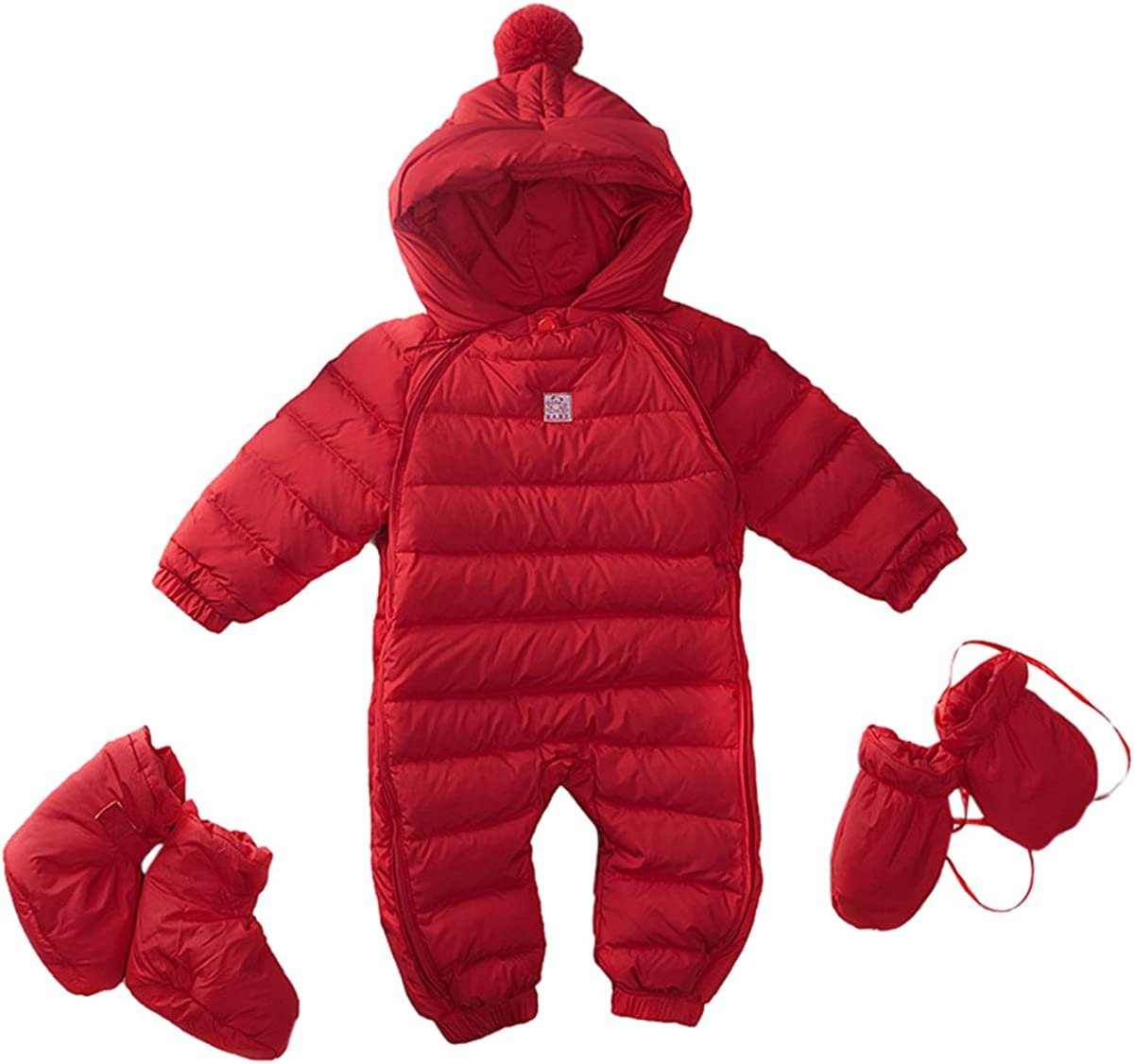 Bebone Newborn Baby Hooded Winter Puffer Snowsuit with Shoes and Gloves