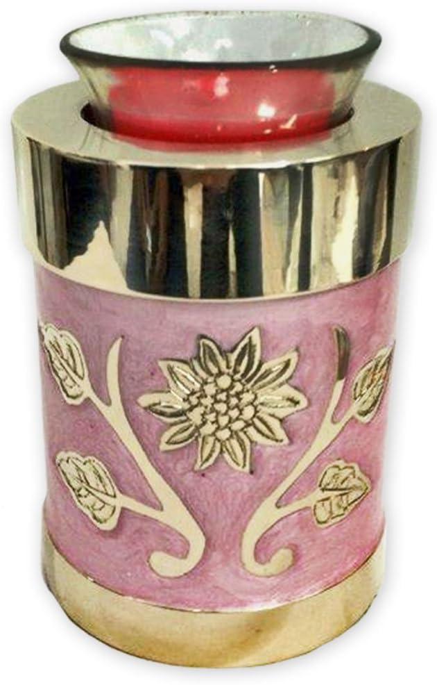 Beautiful Life Urns Pink Garden Brass Cremation Urn, Tealight Size