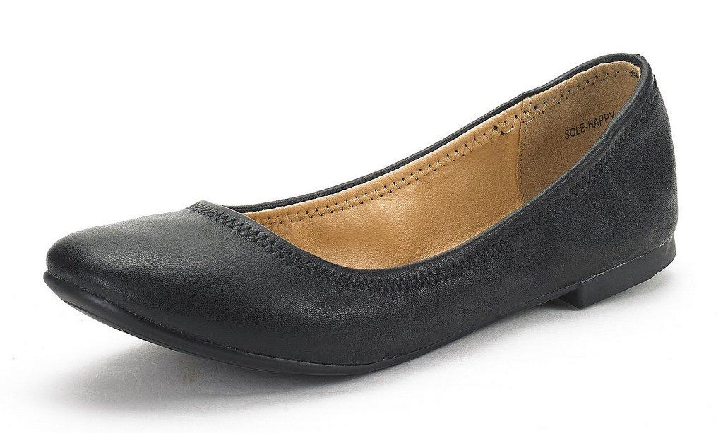 DREAM PAIRS Women's Sole Happy Black Ballerina Walking Flats Shoes - 11 M US