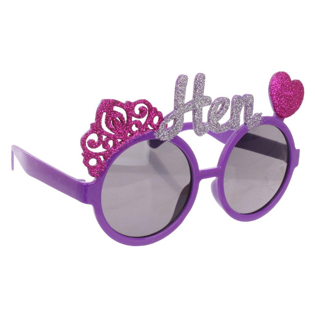 IPOTCH 12pcs Novelty Fun Purple Rose Heart Crown Hen Sunglasses Goggles Fancy Dress Hen Night Party Do Eye Glasses Supplies