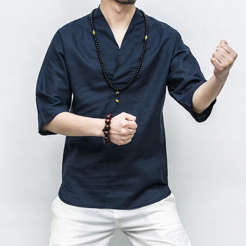 SFE Men Patchwork 3//4 Sleeve Solid Color Loose V Neck Blouse T Shirt Fashion Cotton Linen Shirt for Men