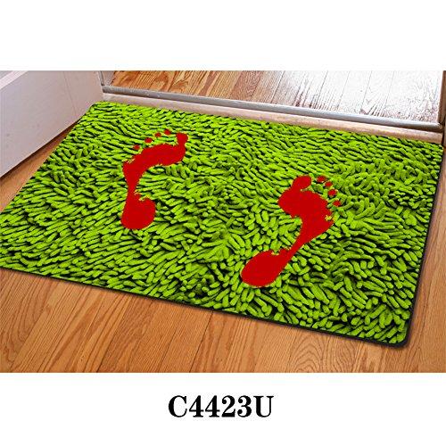 HUGSIDEA Stylish Bloody Footprint Floor Mats Ani-skid Indoor Outdoor Front Doormat Halloween (Footprint Ideas For Halloween)