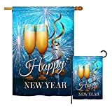 Ornament Collection S191075-BO New Year Fireworks Winter New Year Impressions Decorative Vertical House 28″ X 40″ Garden 13″ X 18.5″ Double Sided Flags Set Printed in USA Multi-Color For Sale