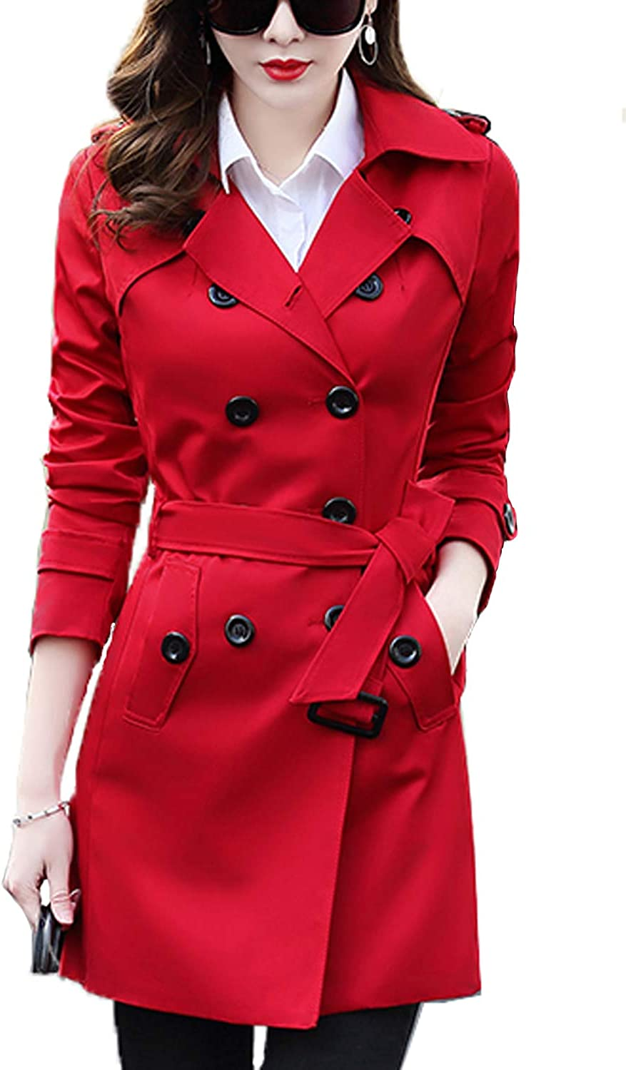 FARVALUE Women's Double Breasted Trench Coat Classic Belted Lapel Overcoat