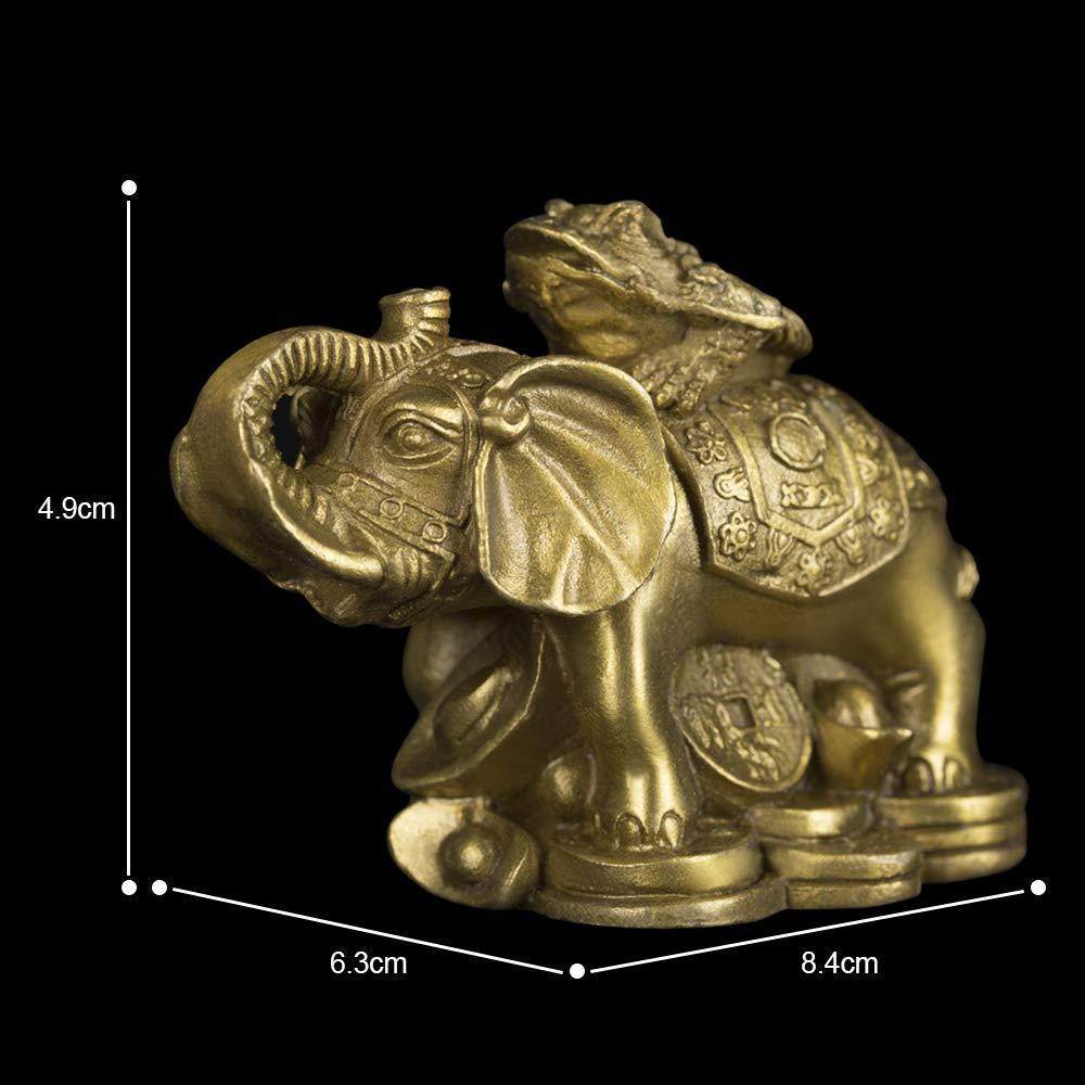 Faite /à la Main Statue de crapaud monte /él/éphant en Laiton tronc Attirer Richesse Chanceux Feng Shui Maison Cadeau Decor