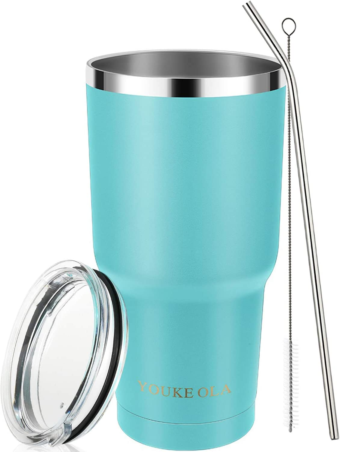 Amazon Com Stainless Steel Tumbler 30oz Vacuum Insulated Tumbler Coffee Cup Double Wall Large Travel Mug With Lid Straw Brush Gift Box Set Seafoam Tumblers Water Glasses