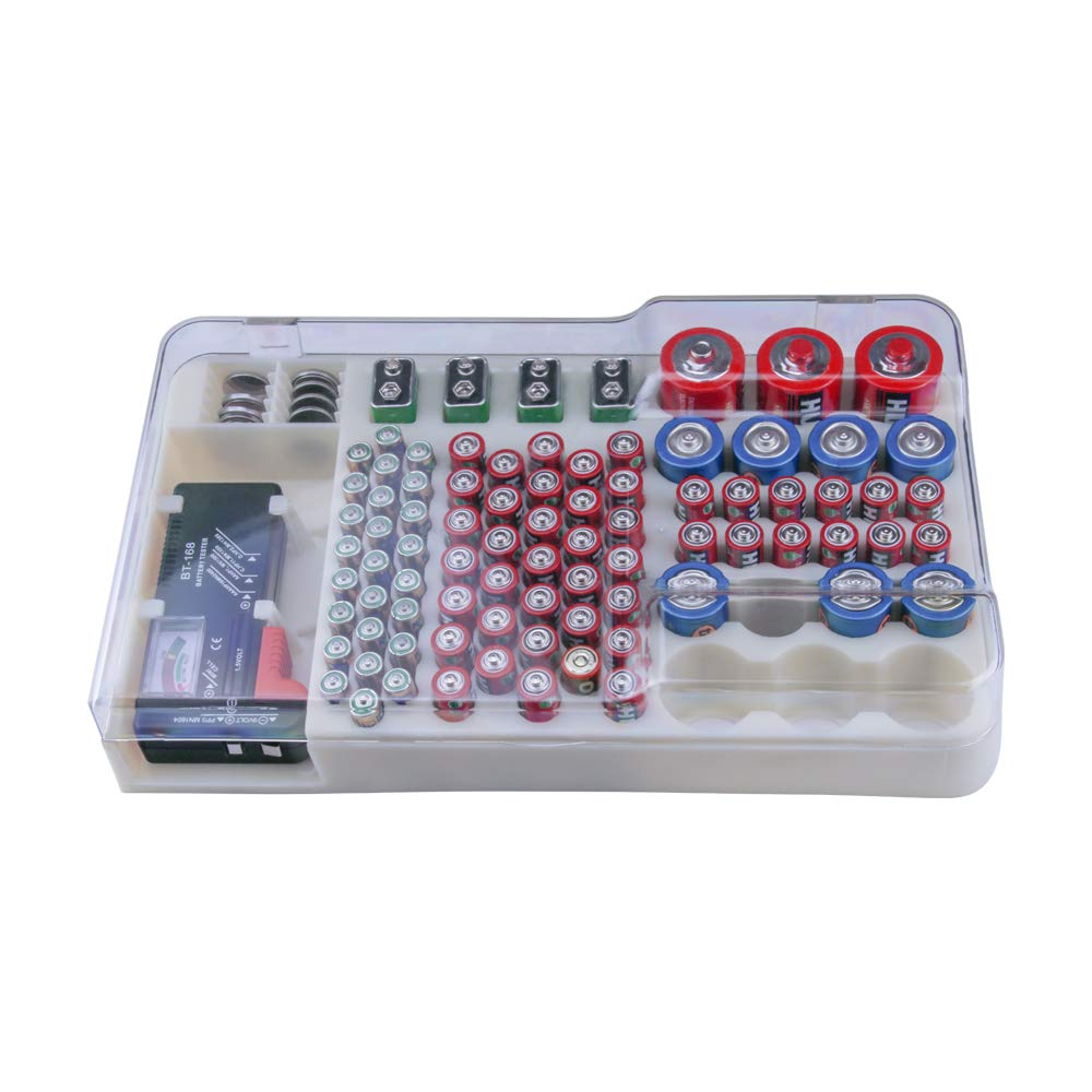 Battery Organizer Storage Rack with a Removable Battery Tester Holds (98) by HEYANG (Image #1)