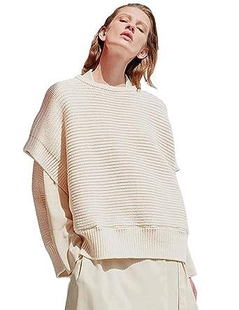 55f1750e25e96 FINCATI Sweaters Women Pullover Crew Neck Cashmere Warm Cozy Ribbed Elbow  Loose Elegent Short Shirt Off