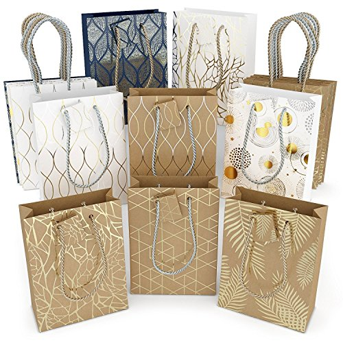 Glogex Gift Bags, Kraft Paper Gifts Bag for Birthday, Weddings Presents (Set of 16, 8 Unique Designs, 2 of each)