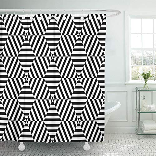Emvency Shower Curtains 66 x 72 Inches Geometric Black and White Hexagon Line Contemporary Modern Abstract Blocks Dots Waterproof Polyester Fabric Bath Decoration for Bathroom Curtain Sets with Hooks - Contemporary Modern Geometric Blocks