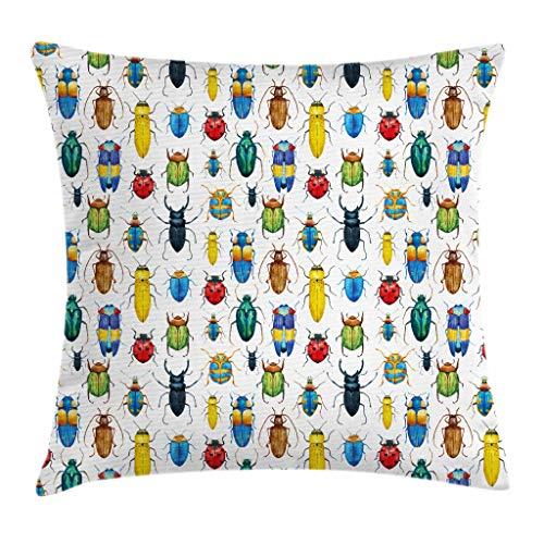 (Ambesonne Watercolor Throw Pillow Cushion Cover, Colorful Beetles and Bugs Kinds of Insects Science Illustration Artsy Print, Decorative Square Accent Pillow Case, 18 X 18 Inches,)