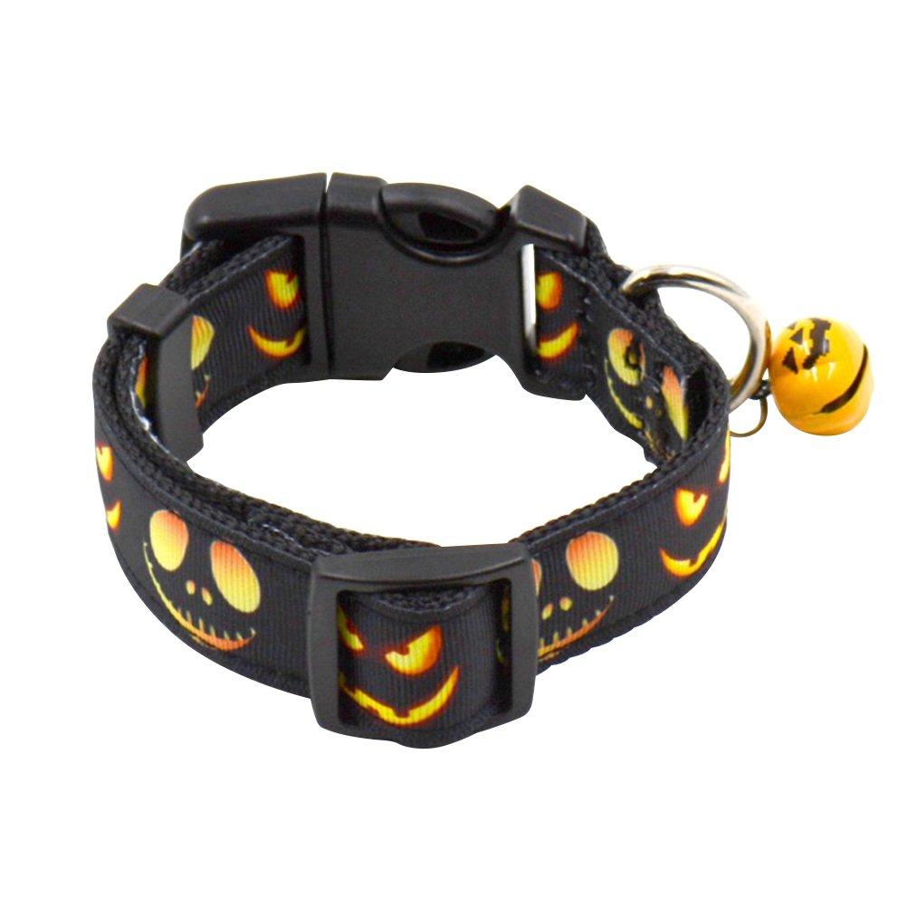 LUOEM Collares para Mascotas Ajustables Halloween Pumpkin Pattern Pattern Collares para Perros Festival con Disfraces Lindos para Halloween (L)