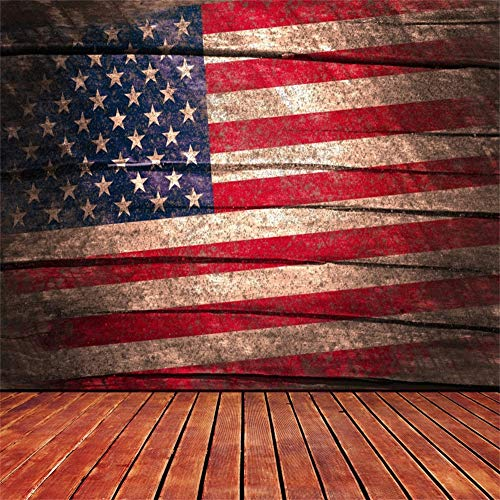 Leowefowa 10x10FT American Flag Backdrop Stars and Stripes Backdrops for Independence Day Party Photography Grungy Wood Floor Vinyl Photo Background Veterans Labor Day Patriotic Portraits Studio Props