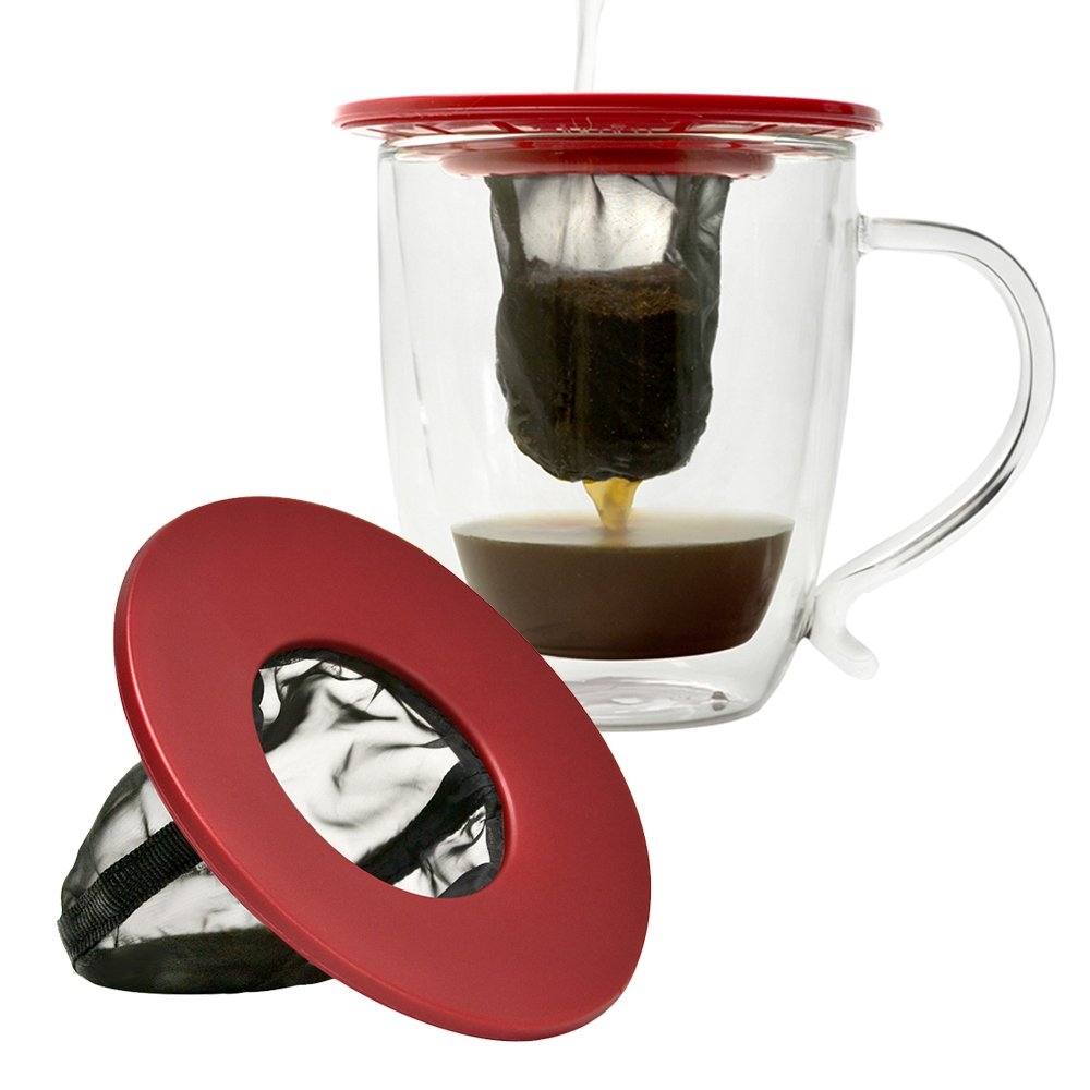 Primula Single Serve Coffee Brew Buddy – Nearly Universal Fit – Ideal for Travel,  Reusable Fine Mesh Filter, Red