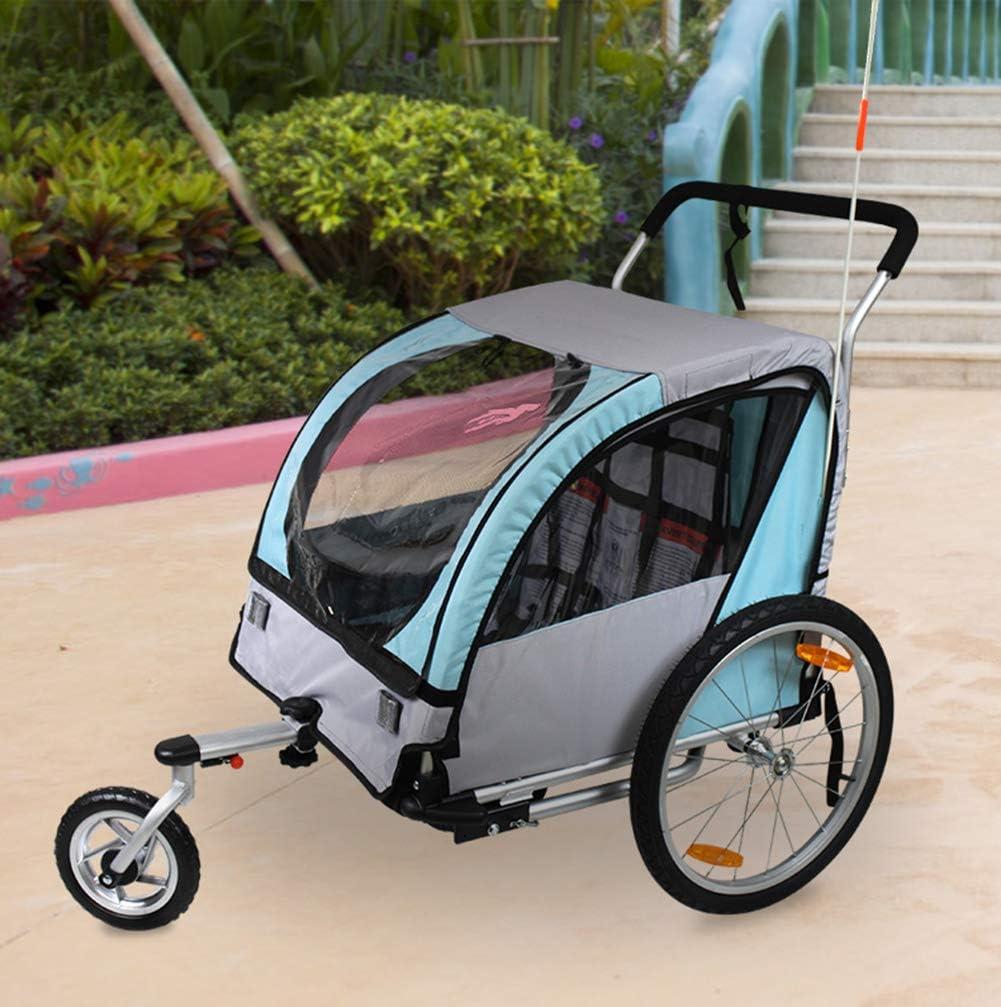 HUWAI Remolque Bici del Deporte de Bicicleta de niño Niño de Remolque, de una y Dos Porta bebé Canopy, Doble Asiento Plegable Detrás de Ellos remolques de Bicicletas, para los niños,Azul: Amazon.es: