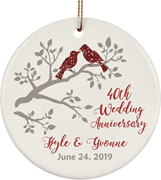 Home Kitchen Ornaments Beautiful Laser Cut Wood Detail Comes In A Pretty Organza Gift Bag So It S Ready To Give Twisted Anchor Trading Co 40th Anniversary Ornament 2019 Heart Shaped Happy