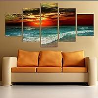 hjcmhjc (Nessuna Cornice) HD Stampa Wall Art Poster 5 Pezzi Vendita Calda Alba Paesaggio Marino Paesaggio Tela Dipinto Home Decor Soggiorno Immagine Modulare Fresca