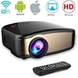 weton Mini Wifi Video Projector 1080P HD, Wireless Full HD 1080P Movie Projector Portable With HDMI USB Headphone Jack TV Good For Home Theater Game Movie XBOX ONE 120'' Max Dispaly (C6)