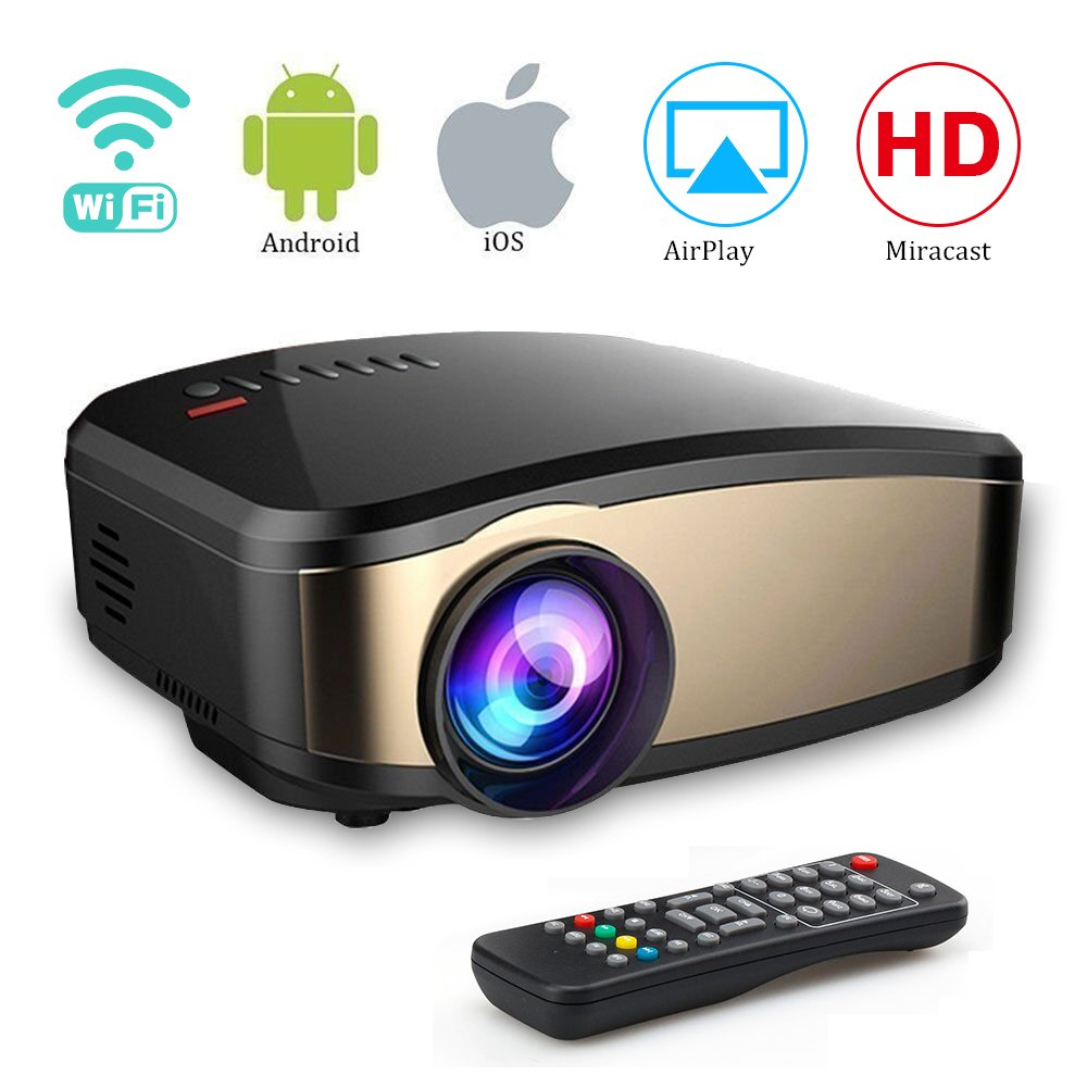 Wireless WiFi Projector,Weton Portable Mini LED Video Projector Full HD 1080P Home Theater Movie Projector with HDMI USB VGA SD AV for Home Cinema Xbox ONE 130'' Max Dispaly