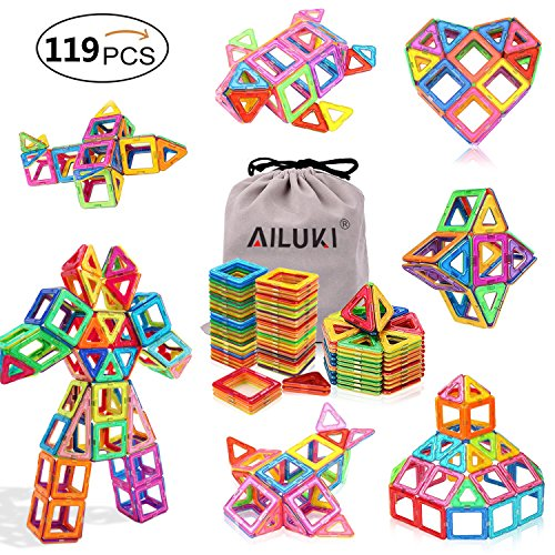 Magnetic Blocks,Ailuki 119 PCS Magnetic Building Blocks Set Strong Magnetic Tiles Stacking Blocks for Children Educational and Creative Imagination Development