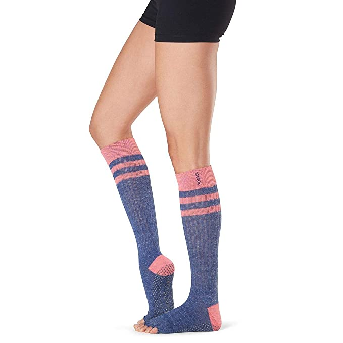 Toesox Grip Pilates Barre Socks-Non Slip Scrunch Knee High Half Toe for Yoga & Ballet Calcetines, Mujer, Jazz, Small