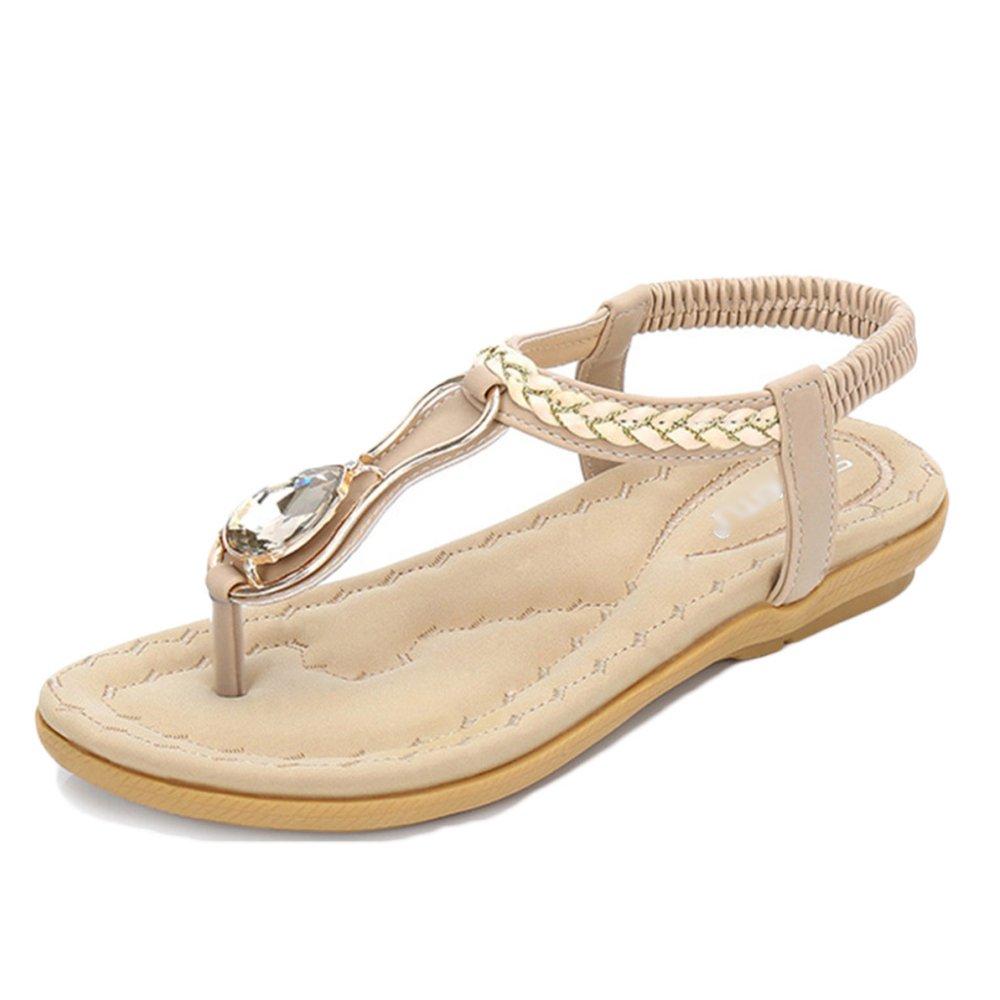 PDFGO Frauen Bohemian Style Flache Schuhe Clip Toe Elastische T-Strap Damen Strass Sandalen Flip-Flops Reise Strandschuhe  EU38/UK5|Beige