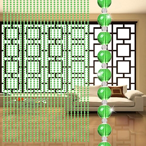 Bead Curtain,Crystal Glass Bead Curtain Luxury Living Room Bedroom Window Door Wedding Decor By Dacawin (Green)