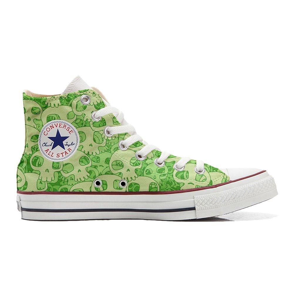 Converse All Star personalisierte Schuhe (Handwerk Produkt) Green Skull  36 EU