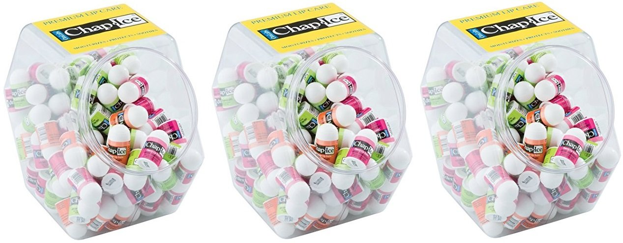 Chap Ice Lip Balm in Bulk - 360 Count Chapstick (3 Buckets of 120 Each) - Vitamin E Oil Lip Treatment for Men, Women, Kids - Fun Packs for Dentist, Doctor's Office, Goodie Bags, Desks