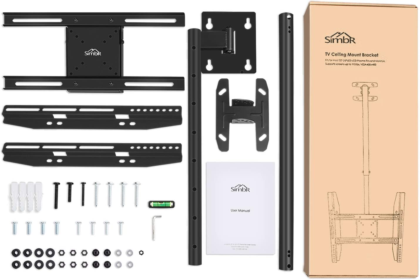 SIMBR TV Ceiling Mount Bracket Swivels and Height Adjustable Fits ...