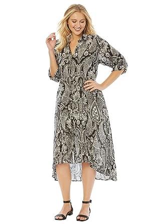cbc5a719505 Roamans Women s Plus Size High-Low Crinkle Dress at Amazon Women s ...