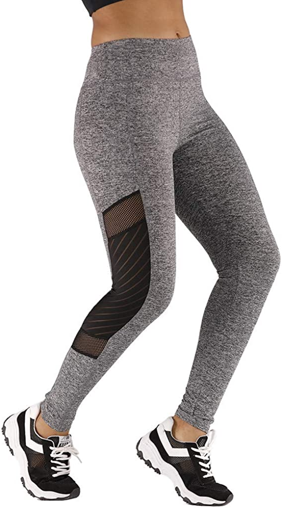 Steagoner Womens High Waist Yoga Pants with Pockets Mesh Workout Running Tummy Control Stretchy Leggings Tights