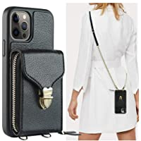 iPhone 12 Pro Max Wallet Case, JLFCH iPhone 12 Pro Max Crossbody Case with Zipper Credit Card Holder Wrist Strap Lanyard…