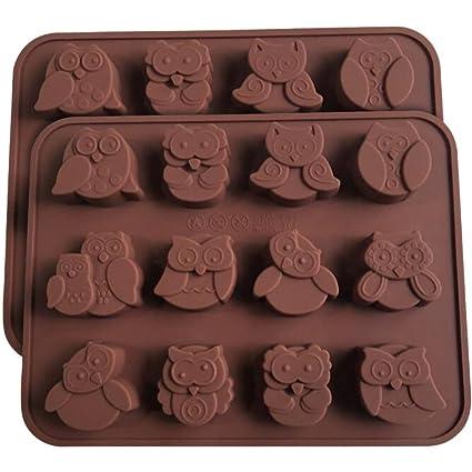 Homeyou - Juego de 2 moldes de silicona para chocolate con diseño de búho, antiadherentes