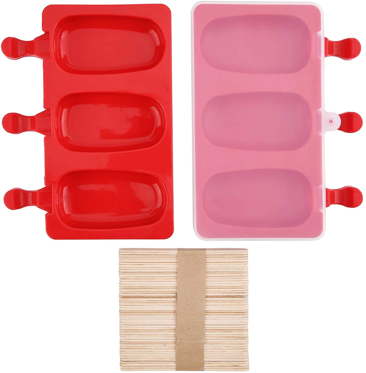 Ice Cream Bar Mold Popsicle Molds DIY Ice Cream Maker with 20 Wooden Sticks Mirenlife 3 Cavities Silicone Cute Ice Pop Mold with Lid Oval K20160717PO