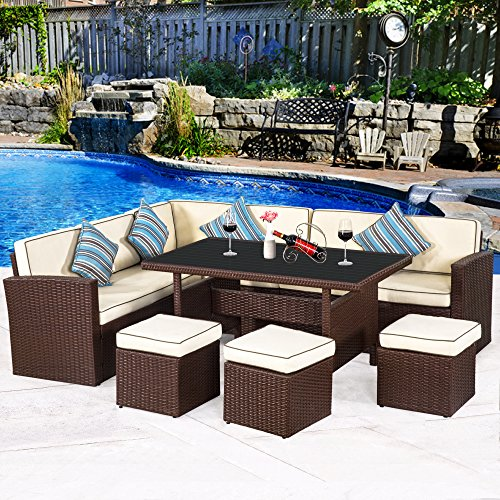 Cloud Mountain 7 PC Patio Wicker Rattan Dining Set Outdoor Garden Lawn Conversation Furniture Set Sofa Sectional Cushioned Seat Aluminum Top Table, Brown Rattan with Creamy White Cushions Aluminum Dining Set