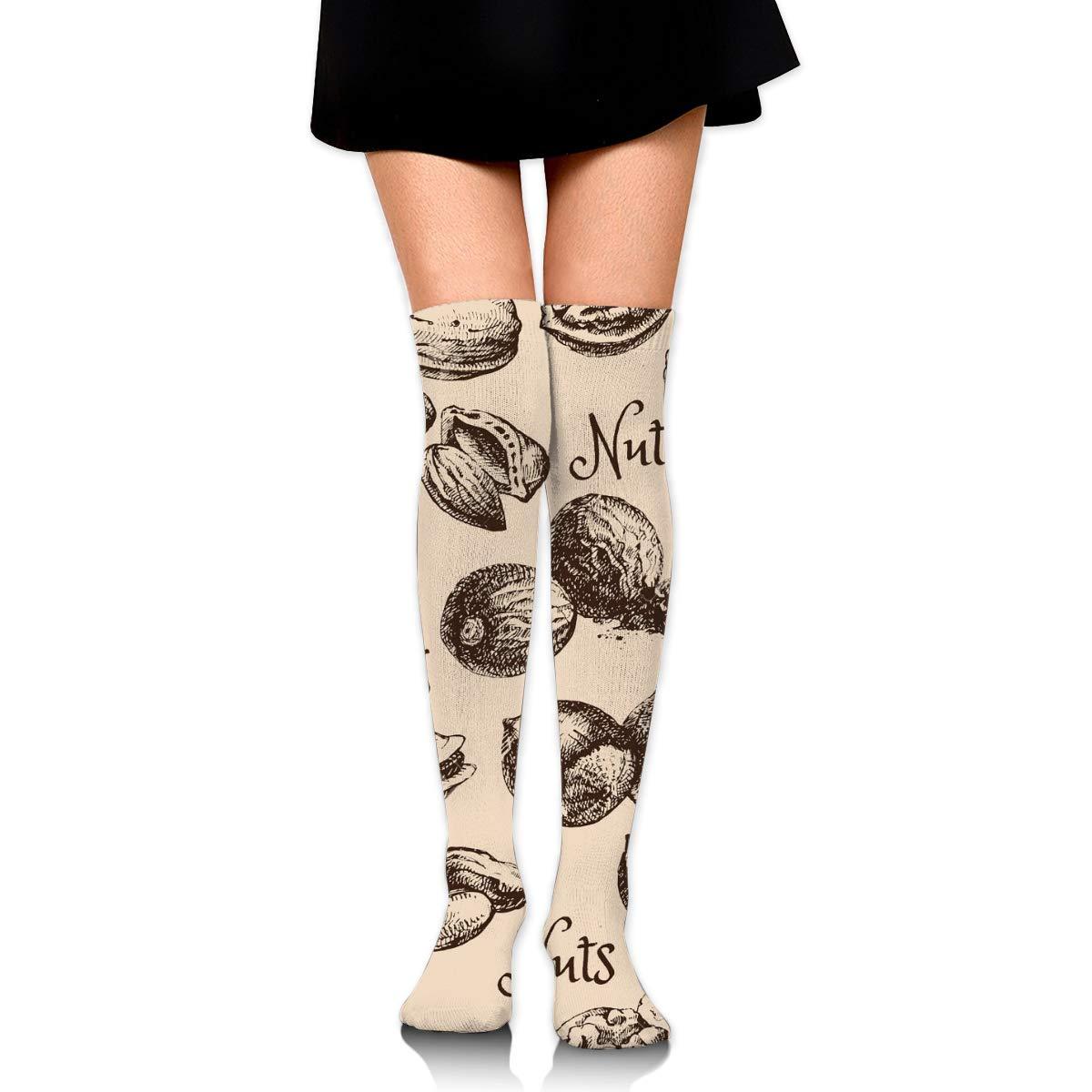Kjaoi Girl Skirt Socks Uniform Nuts Pattern Women Tube Socks Compression Socks