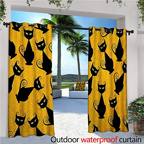 Vintage Outdoor- Free Standing Outdoor Privacy Curtain Black Cat Pattern for Halloween on Orange Background Celebration Graphic Patterns for Front Porch Covered Patio Gazebo Dock Beach Home W72 x -