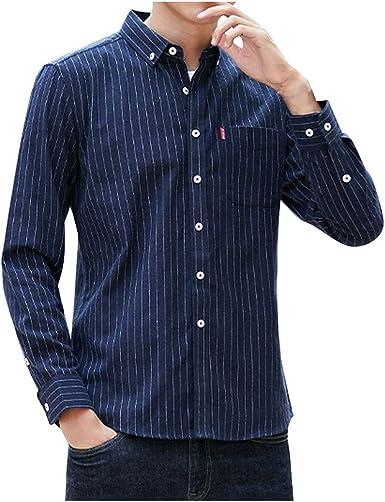 LEEDY Camisa de Manga Larga para Hombre con Bolsillo Formal Slim Fit Regular Casual Suelta de Manga Larga Blusa: Amazon.es: Ropa y accesorios