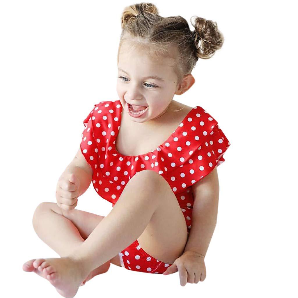 ♞Deadness Summer Mommy and Me Swimsuit Fashion Parent-Child Bathing Bikini Dot Print Ruffle One-Piece Swimwear