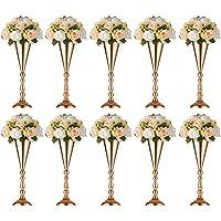 Sfeexun 2 Pcs Tabletop Metal Wedding Flower Trumpet Vase, Table Decorative Centerpiece, Artificial Flower Arrangements…