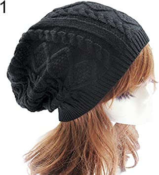 Femmes mode hiver chaud beret tressé crochet knitting baggy beanie hat