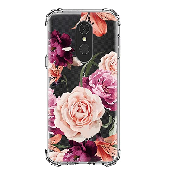online store 87766 5ee91 LG Q7 Case,LG Q7 Plus Case,LUOLNH Slim Shockproof Clear Floral Pattern Soft  Flexible TPU Back Cover for LG Q7 /Q7+(Purple)